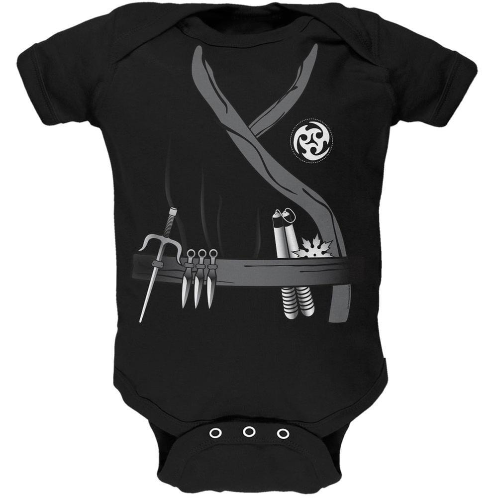 Halloween Ninja Assassin Costume Black Soft Baby One Piece