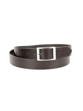 1-1/4 in. US Steer Hide Leather Men's Dress Belt with Brushed Nickel Finish Mid Bar Buckle- Black