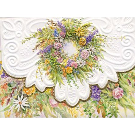Rose Garden Wreath Portfolio Blank Card Set, 10-Piece, 10 embossed blank cards By Carol Wilson Fine