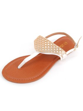 4900e4ccb111c Product Image Womens Gold Sandals T Strap Thong Flats Adjustable Ankle  Strap Hot Summer Shoes. Luo Luo