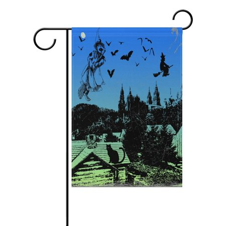 POPCreation Scary Halloween Night Polyester Garden Flag Outdoor Flag Home Party Garden Decor 28x40 inches - Scary Night Halloween Song