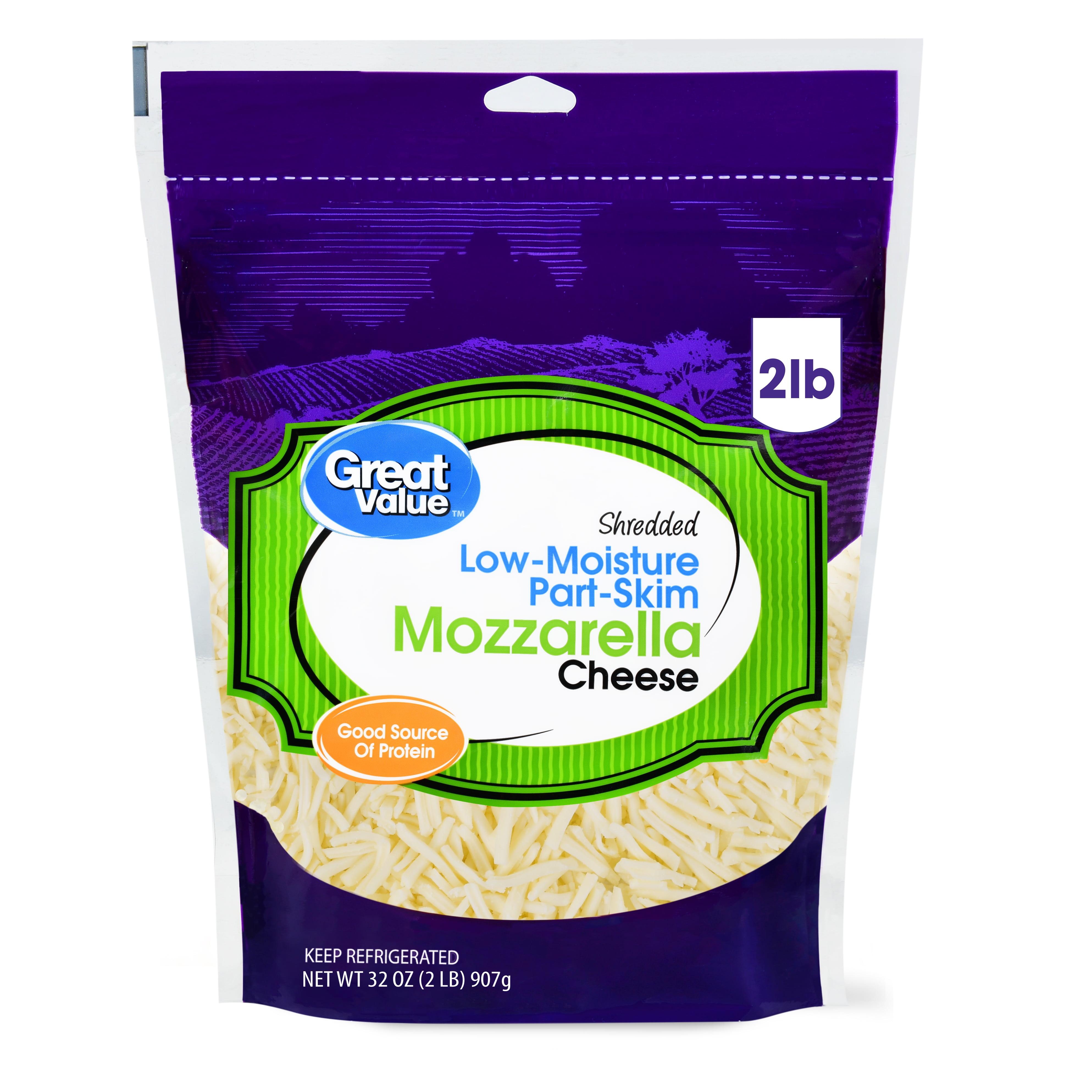 Great Value Low Moisture Part Skim Shredded Mozzarella Cheese 32 Oz