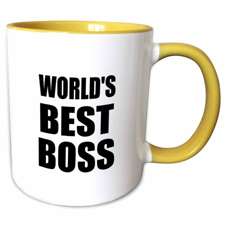 3dRose Worlds Best Boss in black - great text design for the greatest boss - Two Tone Yellow Mug, (Best The Boss 2)