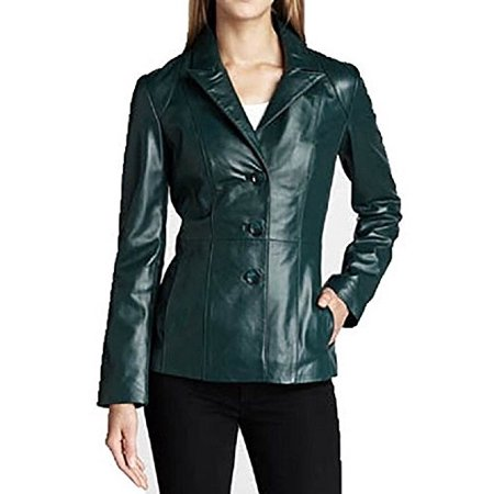 Fully Lined Leather Blazer - Neiman Marcus Women's Leather Blazer-Teal-M