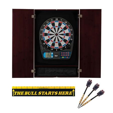 Viper Metropolitan Mahogany Soft Tip Dartboard Cabinet, Viper 787 Electronic Dartboard, Viper Elite Brass Soft Tip Darts 18 Grams, and Throw Line Marker