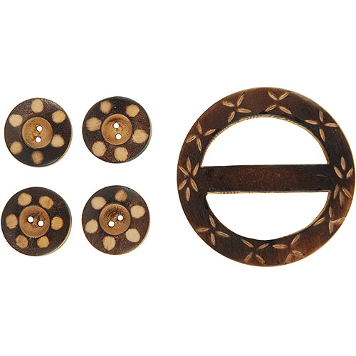 Vision Trims Handmade Wood Buckle/Buttons 5 Pieces/Pkg-Carved Circles Multi-Colored
