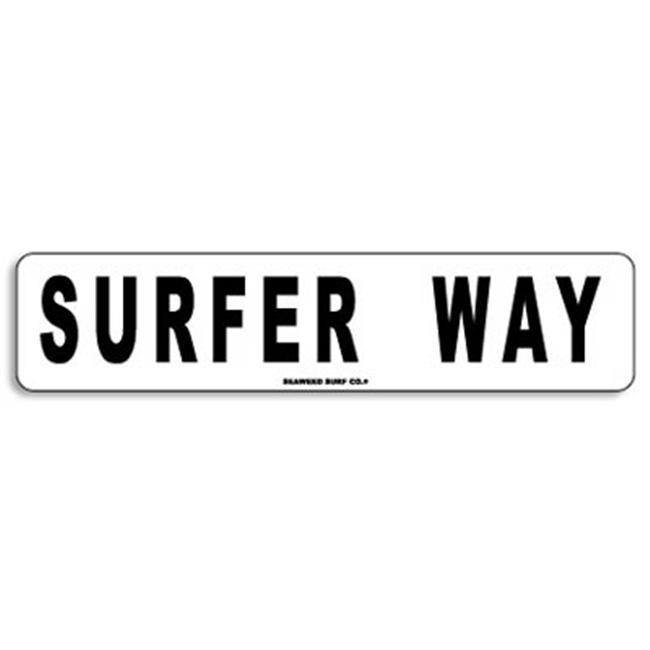 Seaweed Surf Co AA73 4X18 Aluminum Sign Surfer Way