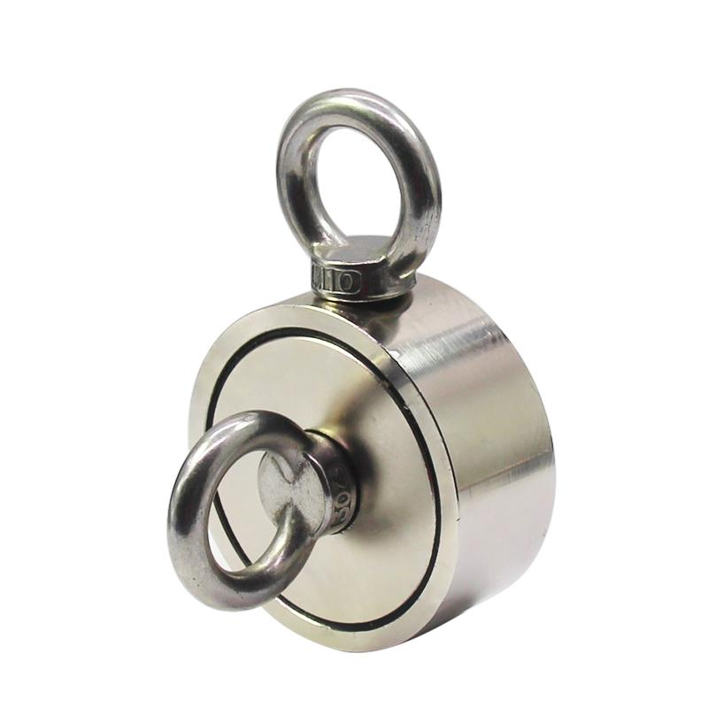 Mutuactor Double Sides Combined 2000LBS Vertical Magnetic Pull Force Neodymium Retrieving Salvage Magnet with M10 Eyebolt