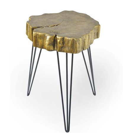 Rustic Iron and Resin Gold Crosscut Tree Accent Table, Gold