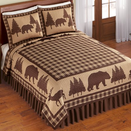 Woodland Buffalo Plaid Checkered Quilt - Northwoods Seasonal Bedroom Decor ()