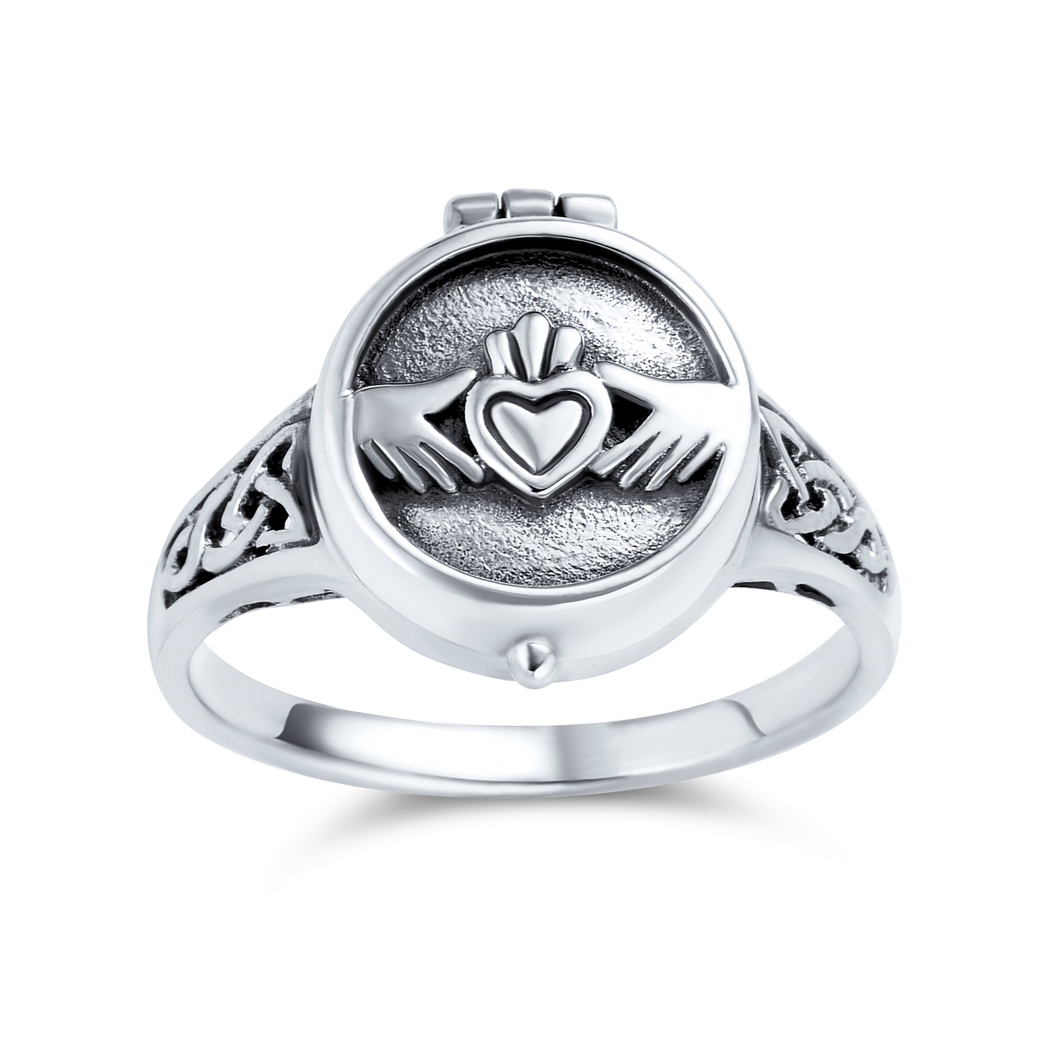 Bling Jewelry Bff Celtic Irish Friendship Couples Promise Heart Locket Claddagh Ring For Men For Women Oxidized 925 Sterling Silver Walmart Com Walmart Com