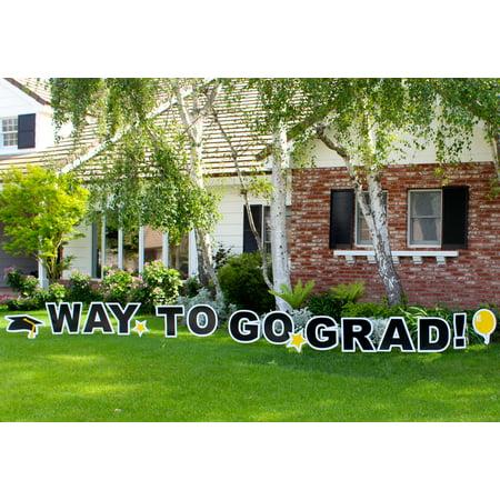 Graduation Cap Decoration Kit (Yard Card Way to Go Grad! 16pc Graduation Sign Decoration Kit, Black)