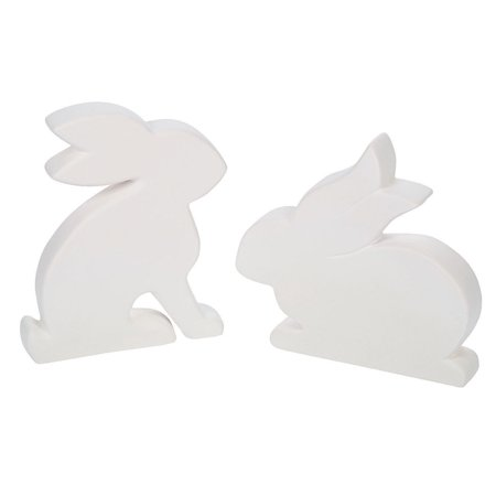 Fun Express - Diy Flat Bunnies (2pc) for Easter - Craft Kits - DYO - Ceramic - Banks And Figurines - Easter - 2 Pieces (Ernie Banks Figurine)