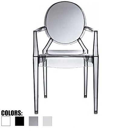 2xhome Smoke – Modern Contemporary Louis XIV Dining Chair Armchair Ghost Style Ghost Chair with Arms Ghost Arm Chair in Smoke Stackable Stacking Made From Polycarbonate