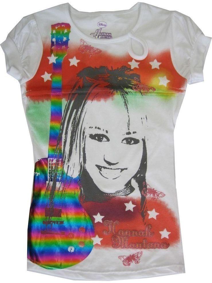 Little Girls White Red Hanna Montana Rainbow Guitare Print T-shirt 7-16