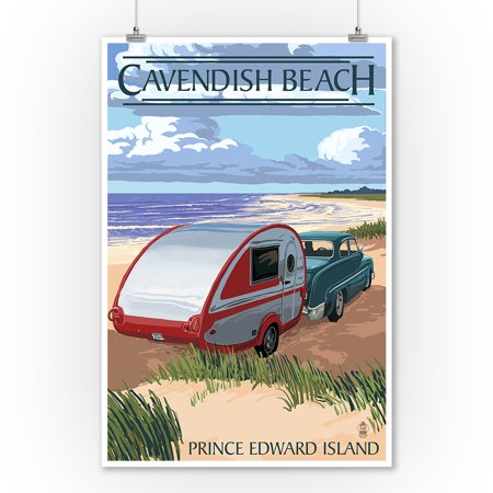 Prince Edward Island - Cavendish Beach & Camper - Lantern Press Artwork (9x12 Art Print, Wall Decor Travel Poster) - Beach Lanterns