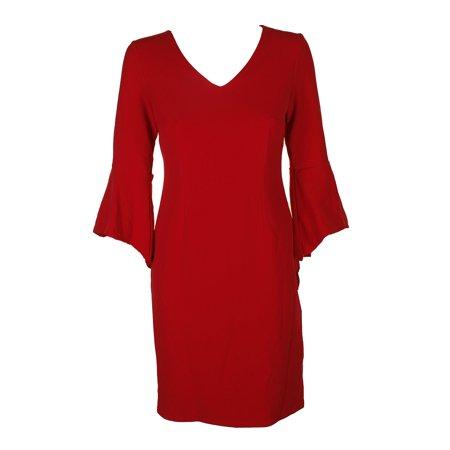 Inc International Concepts Real Red Bell-Sleeve V-Neck Dress S - International Dress