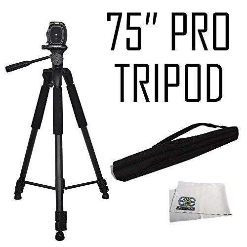 "75"" Professional Heavy Duty 3-Way Pan Head Tripod For Canon, JVC, Panasonic, Samsung & Sony Camcorders"