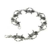"""Detailed Crabs Sterling Silver Cancer Zodiac Crab Link 7"""" Bracelet"""