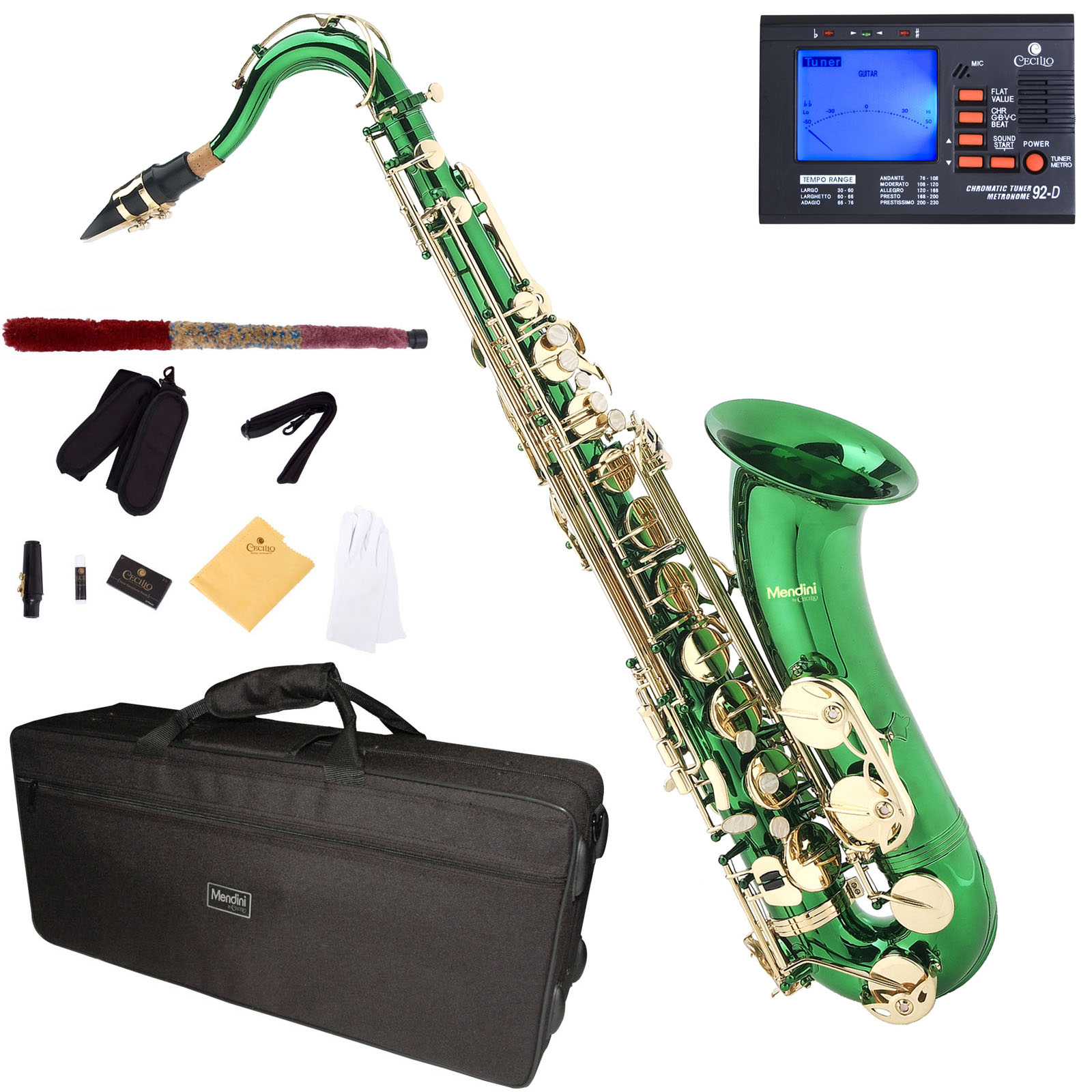 Mendini by Cecilio Bb Tenor Saxophone with Tuner, 10 Reeds, Mouthpiece and Case, MTS-GL Green Lacquer