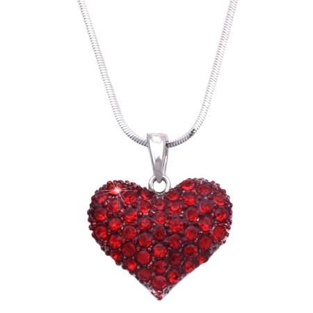 Cocojewelry Small Heart Crystal Pave Pendant Necklace Valentines Day Jewelry Gift Box