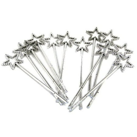 Sequin Star Wand - Silver (Pack of 12) by RINCO