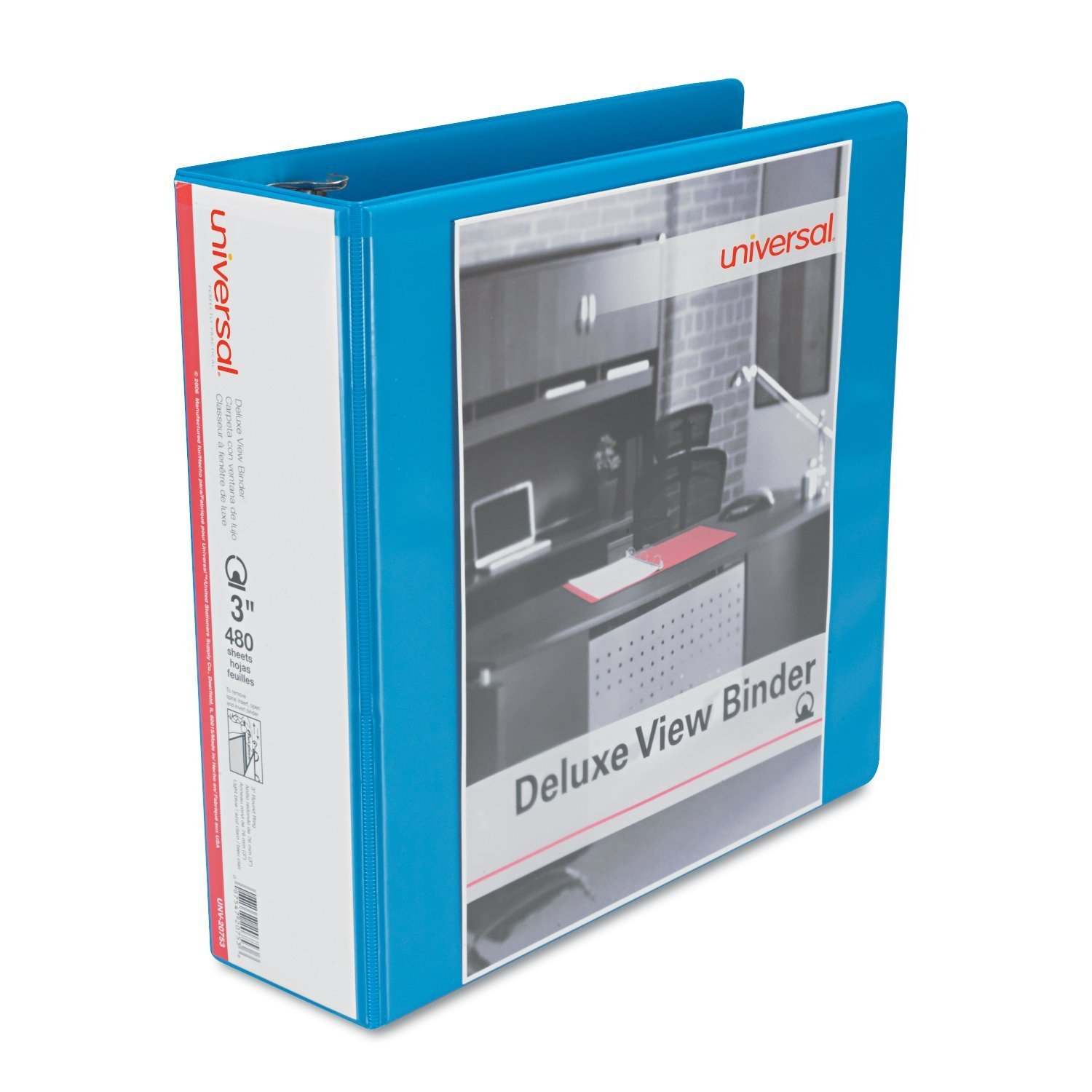 Deluxe Round Ring View Binder, 3 Capacity, Light Blue