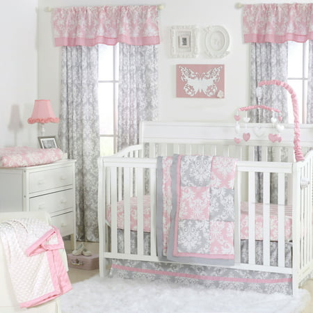 Baby Nursery Girl - Damask Delight Patchwork Pink/Grey Baby Girl Crib Bedding - 20 Piece Nursery Essentials Set