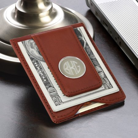 Personalized Brown Leather Wallet & Money Clip - Personalized Money Clip Wallet