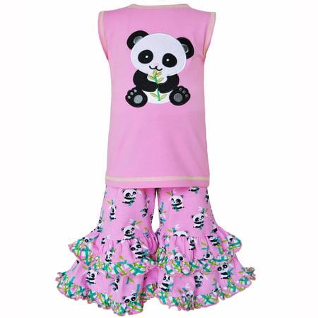 Ann Loren AnnLoren Girls Boutique Cotton Knit Pink Panda Tunic & Capri Outfit