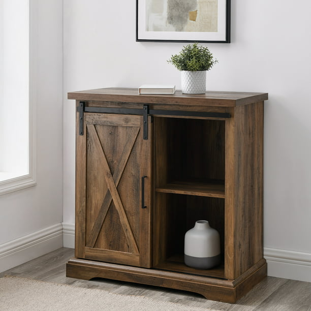 Manor Park Farmhouse Barn Door Accent Cabinet, Rustic Oak