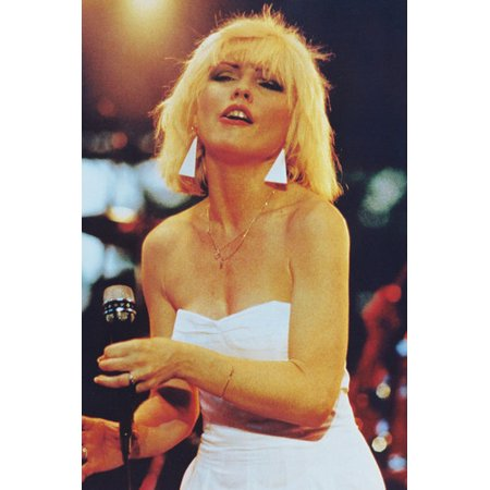 Deborah Harry Blondie on Stage 70's Color 24x36 Poster sexy low cut white outfit