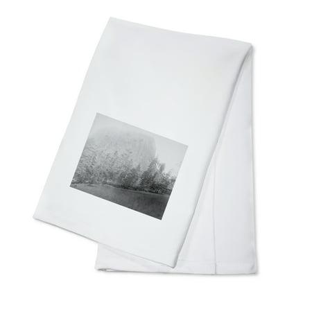 Little Missouri Butte Beyond Field and Trees Photograph (100% Cotton Kitchen Towel)