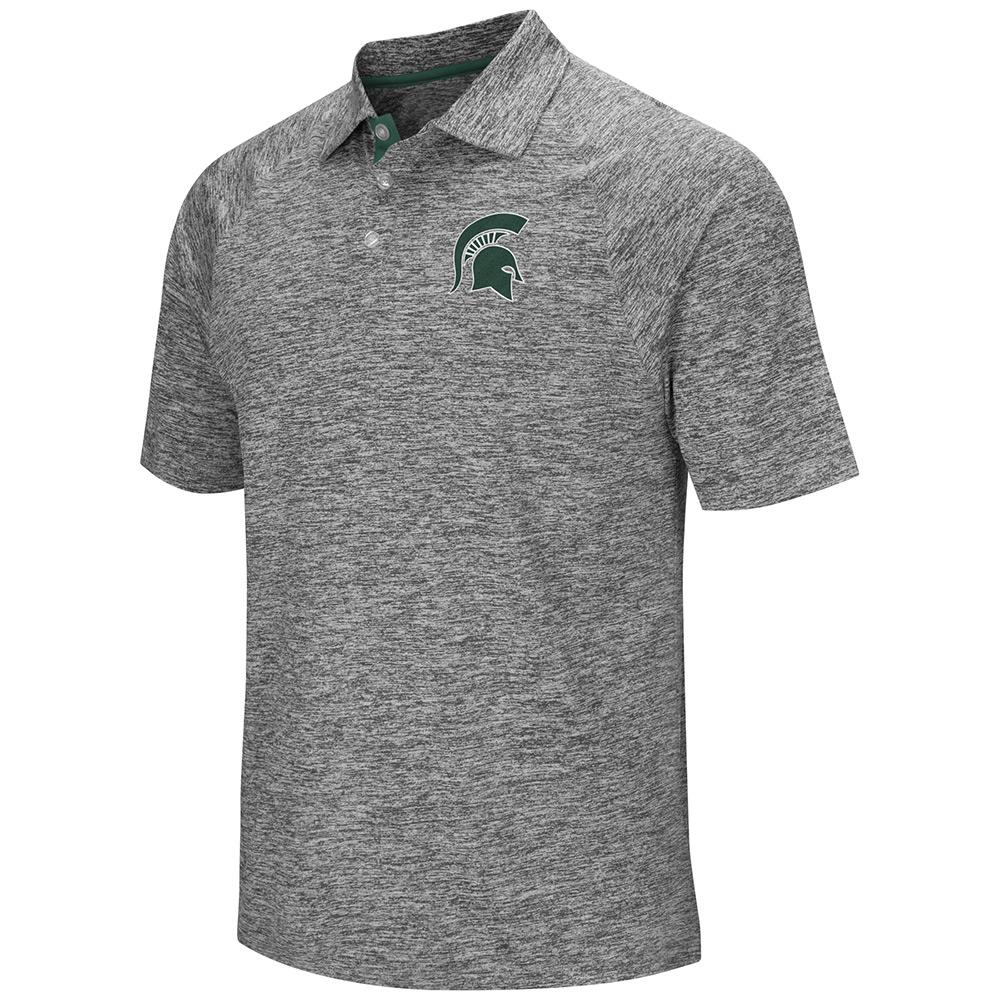 Mens NCAA Michigan State Spartans Polo Shirt (Heather Grey)