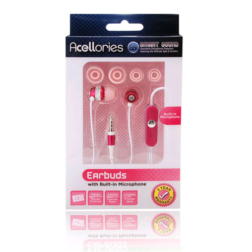 Premium Acellories 3.5mm Universal Earbud with Mic and On/Off Button - Pink