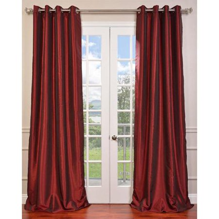 Exclusive Fabrics Textured Dupioni Faux Silk 96 Inch Blackout Grommet Curtain Panel