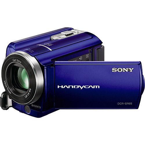 sony handycam. sony handycam sr68 blue 80gb hard disk drive camcorder w/ 60x optical zoom