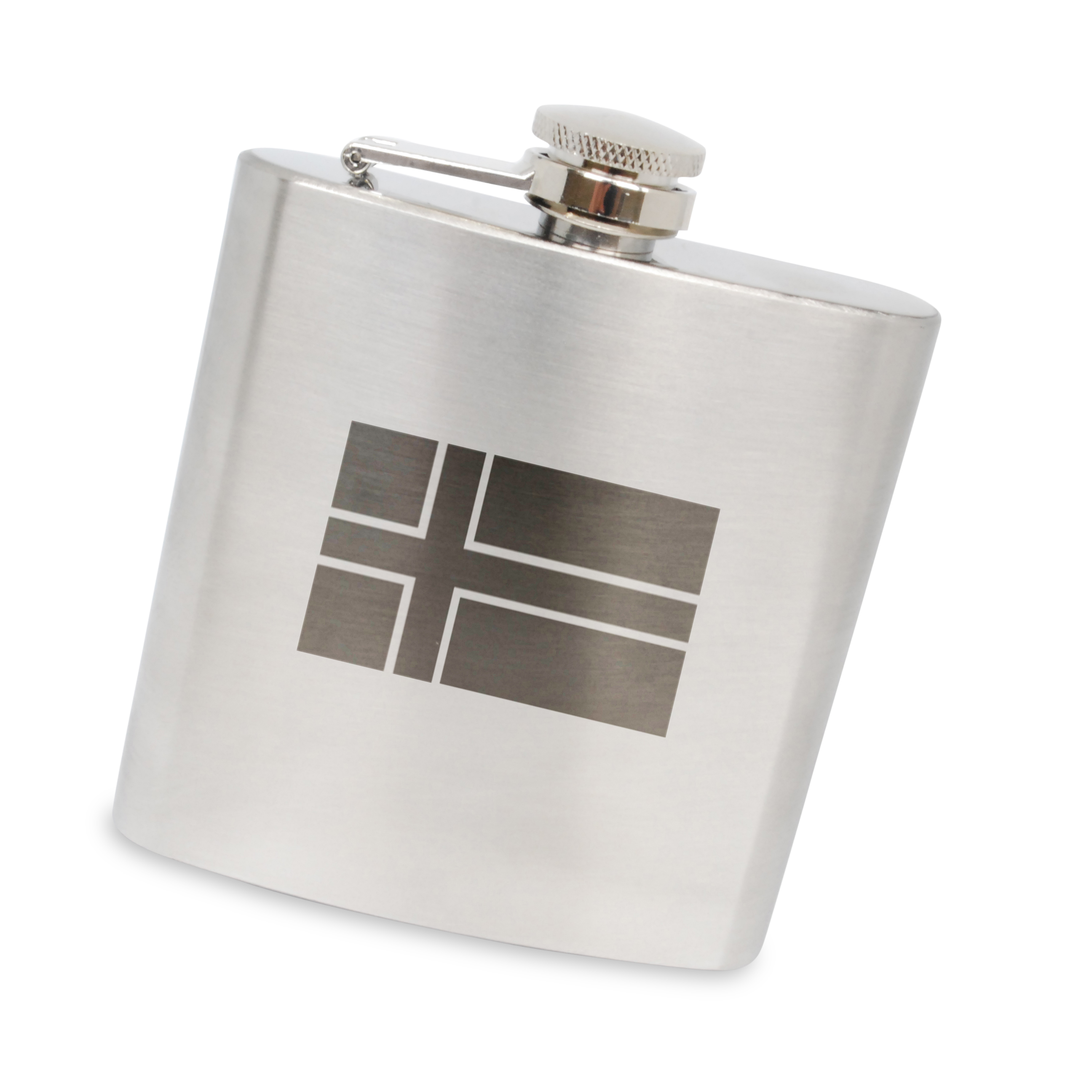 Icelandic Flag Stainless Steel 6 Oz Flask. Made In The Usa. by BigSpool Distributors