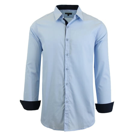 Mens Long Sleeve Slim Fit Solid Dress Shirts - image 7 of 9