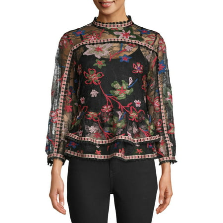 Sui by Anna Sui Women's Floral Embroidered Lace Top