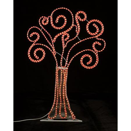 4' Pre-Lit Peppermint Twist Swirl Rope Light Outdoor Yard Art Christmas Tree ()