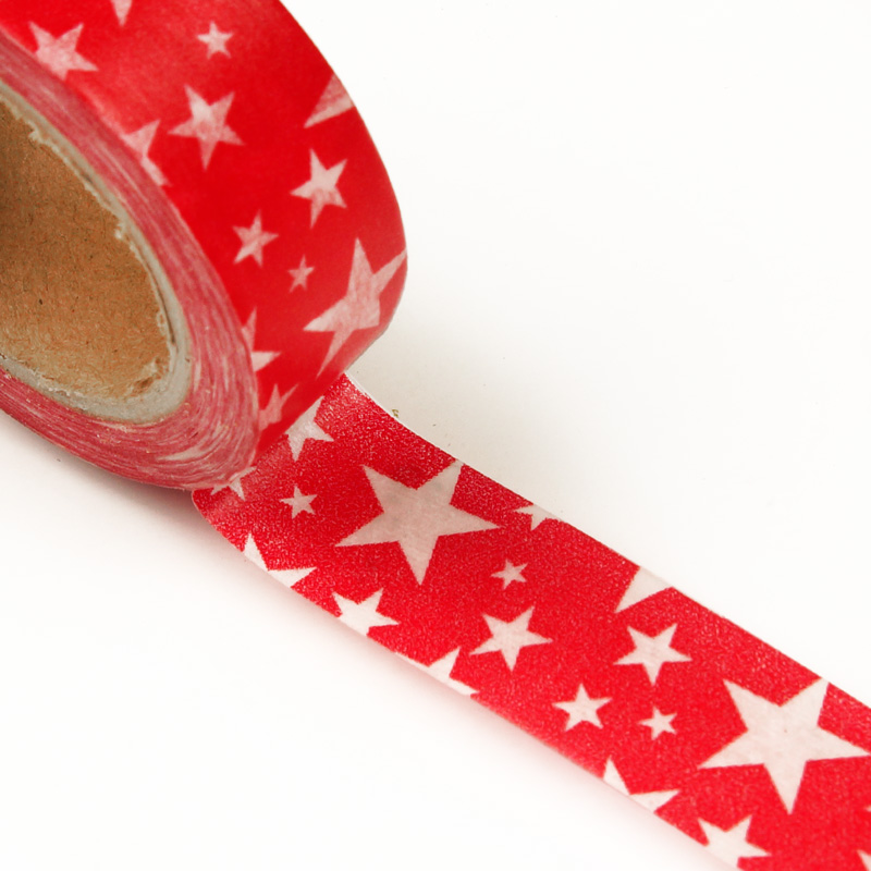 """9/16"""" X 10 Yards Red/White Stars Washi Tape  by Paper Mart"""