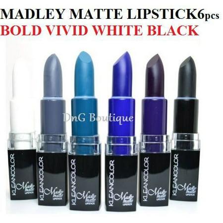 LWS LA Wholesale Store  U Pick Set Kleancolor Madly Matte Lipstick VIVID BOLD WHITE BLACK BLUE PURPLE (Set 1 (1881)) (Wholesale Stores Online)