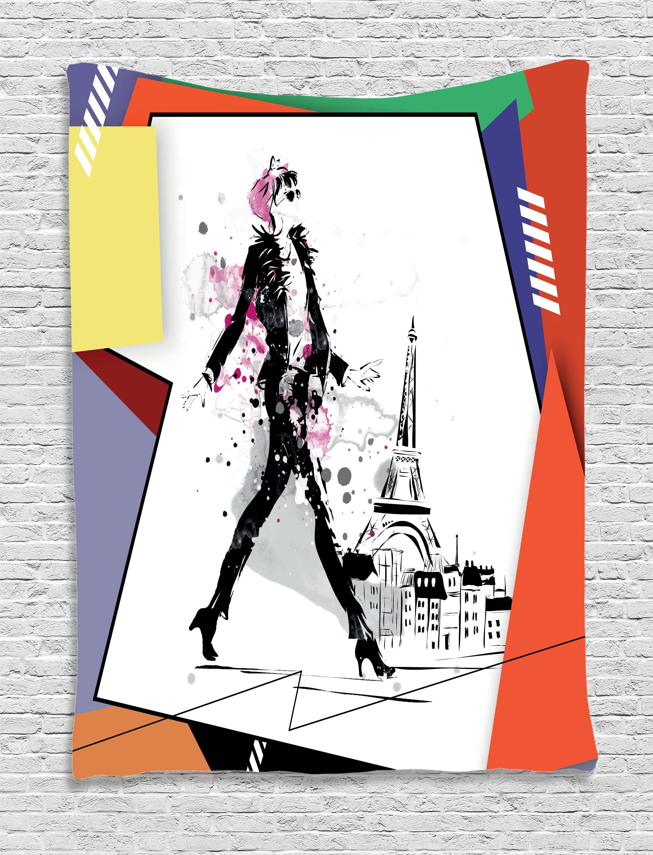 Fashion House Decor Tapestry, A Girl Walking In Streets Of Paris Sketch  Style Romantic Eiffel