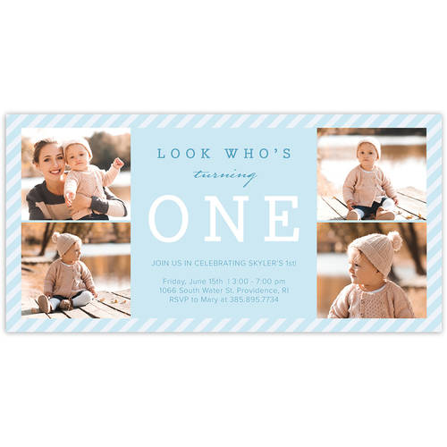 Classic Baby Stripes Birthday First Invitation