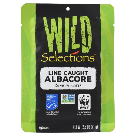 (6 Pack) Wild Selections Line Caught Albacore Tuna Fish Pouch, 2.5