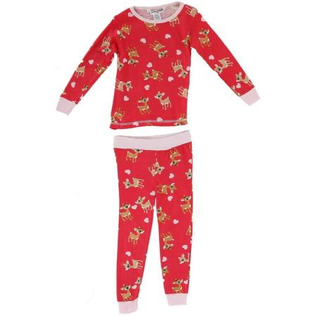 Baby Toddler Reindeer and Hearts 2 Piece Pajama Set,  Red - Reindeer Pajamas For Adults
