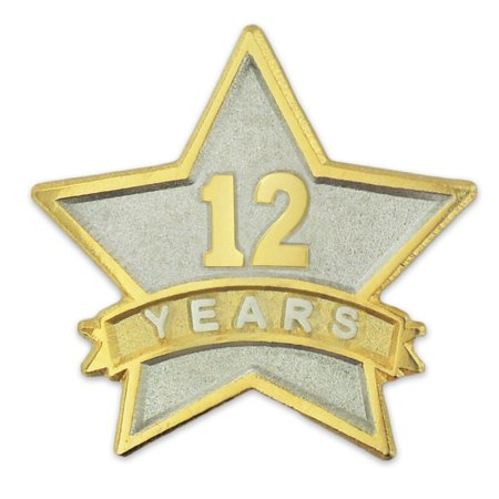 Corporate Acrylic Award (PinMart's 12 Year Service Award Star Corporate Recognition Dual Plated Lapel)