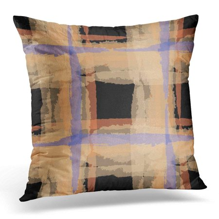 USART Abstract Kilt Grunge with Hand Crossing Lines for Linen Rustic Check Scottish Brush Pillow Case Pillow Cover 20x20 inch
