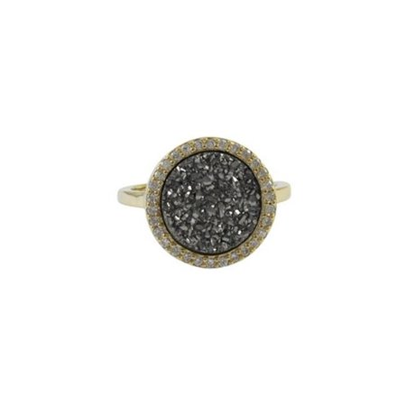 Gold Plated Sterling Silver 15 mm Round Circle & 12 mm Grey Druzy Natural Stone Cubic Zirconia Border Ring, Size 7